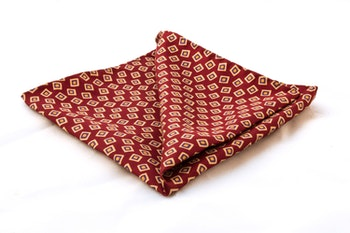 Squares Vintage Silk Pocket Square - Red/White