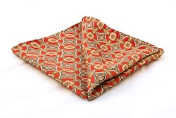 Floral Vintage Silk Pocket Square - Red/Gold