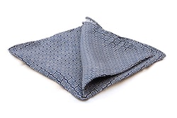 Leaf Silk Pocket Square - Navy Blue/White
