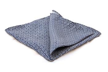 Leaf Silk Pocket Square - Navy Blue/White