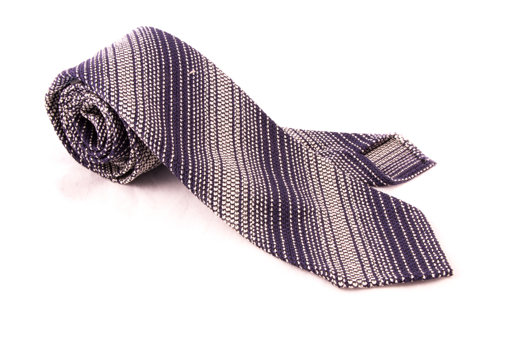 Regimental Silk Grenadine Tie - Untipped - Navy Blue/White
