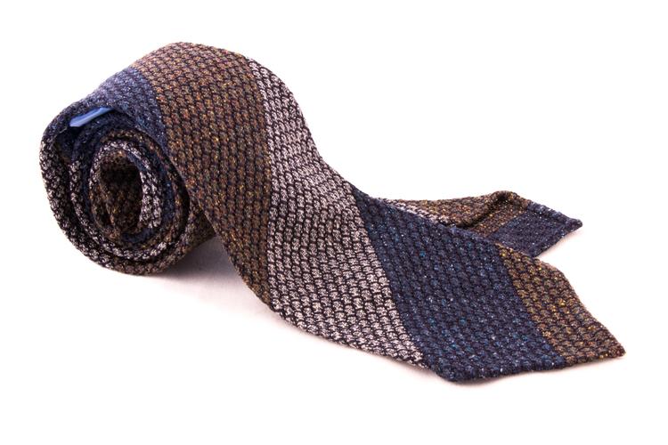 Blockstripe Jacquard Grenadine Tie - Untipped - Green/Grey/Navy Blue