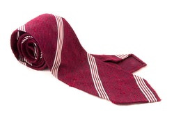 Regimental Shantung Grenadine Tie - Untipped - Burgundy/White