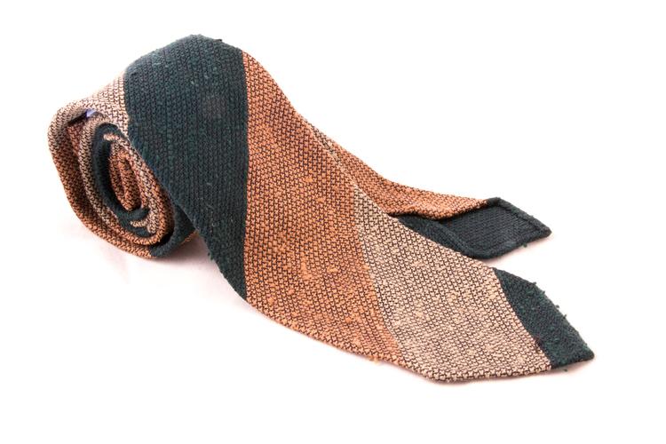 Blockstripe Shantung Grenadine Tie - Untipped - Green/Rust/Beige