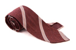 Regimental Shantung Grenadine Tie - Untipped - Rust/White