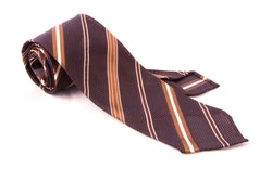 Regimental Silk Grenadine Tie - Untipped - Brown/Beige