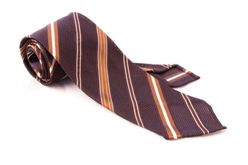 Regimental Silk Grenadine Tie - Untipped - Brown/Beige
