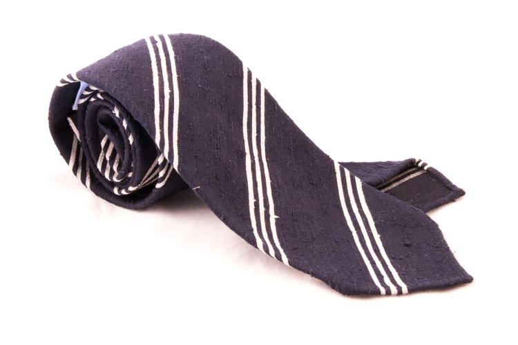 Regimental Shantung Tie - Untipped - Navy Blue/White