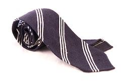 Regimental Shantung Tie - Untipped - Navy Blue/White