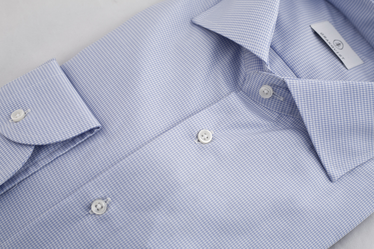 Dogtooth Twill Shirt - Light Blue/White