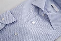 Dogtooth Twill Shirt - Light Blue/White