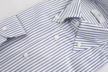 Pinstripe Oxford Shirt - Button Down - Navy Blue/White