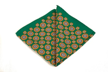 Silk Medallion - Green/Orange/White