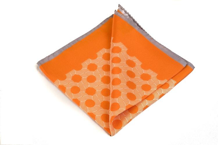 Silk Circular Waves - Orange/White/Grey