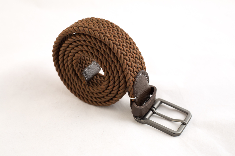 Waxed stretch belt - Brown