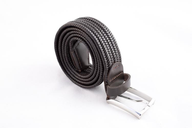 Braided Leather Stretch Belt - Dark Brown