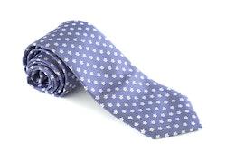 Floral Silk Tie - Mid Blue/White