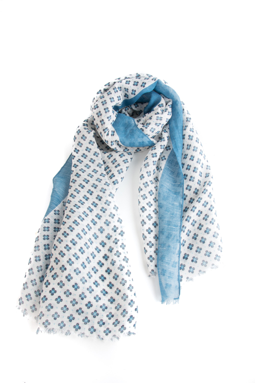 Scarf Floral - White/Light Blue/Navy Blue