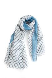Scarf Floral - White/Light Blue/Navy Blue