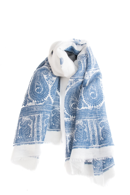 Scarf Paisley - Mid Blue/White