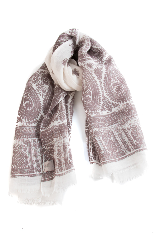 Scarf Paisley - Brown/White