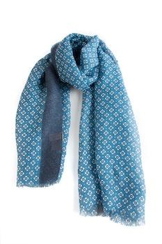 Scarf Floral - Aqua/Navy Blue/White