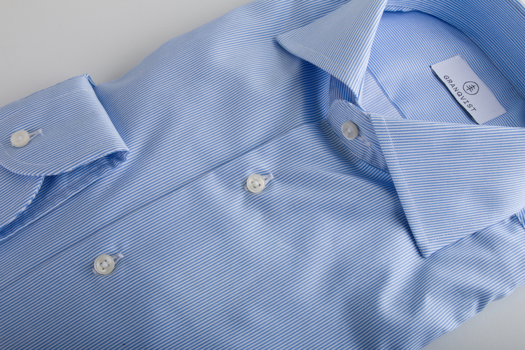 Thin Stripe Twill Shirt - Mid Light Blue/White