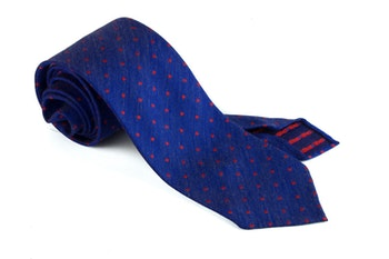 Silk Polka Dot Untipped - Navy Blue/Red
