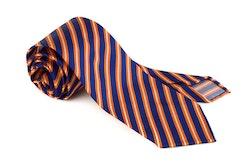 Silk Regimental Untipped - Mid Blue/Orange/White