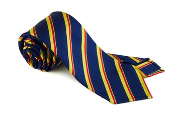 Silk Regimental Untipped - Navy Blue/Yellow/Red