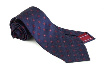 Silk Floral Untipped - Navy Blue/Red