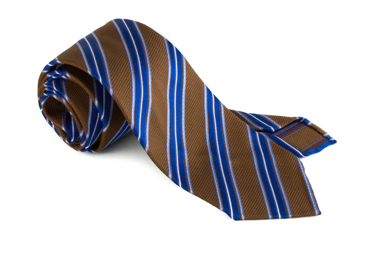 Silk Regimental Untipped - Beige/Mid Blue/Light Blue