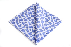 Paisley Cotton Pocket Square - Light Blue/White