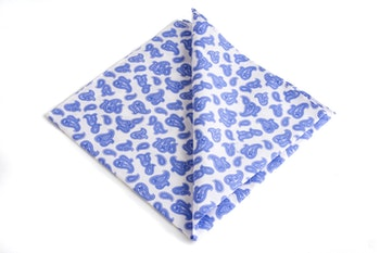 Paisley Cotton Pocket Square - Light Blue/White