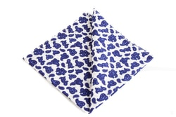 Paisley Cotton Pocket Square - Navy Blue/White