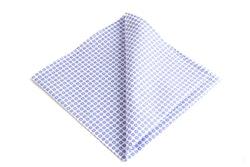 Polka Dot Cotton Pocket Square - Light Blue/White