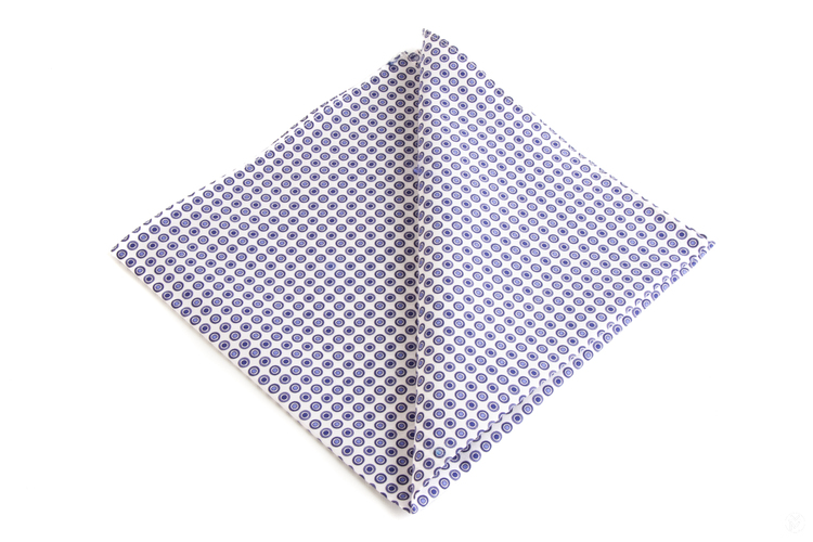 Polka Dot Cotton Pocket Square - Navy Blue/White