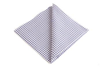 Polka Dot Cotton Pocket Square - Navy Blue/White