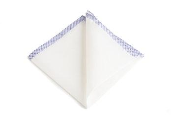 Shoestring Cotton Pocket Square - White/Navy Blue