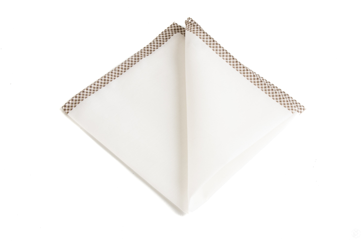 Shoestring Cotton Pocket Square - White/Brown