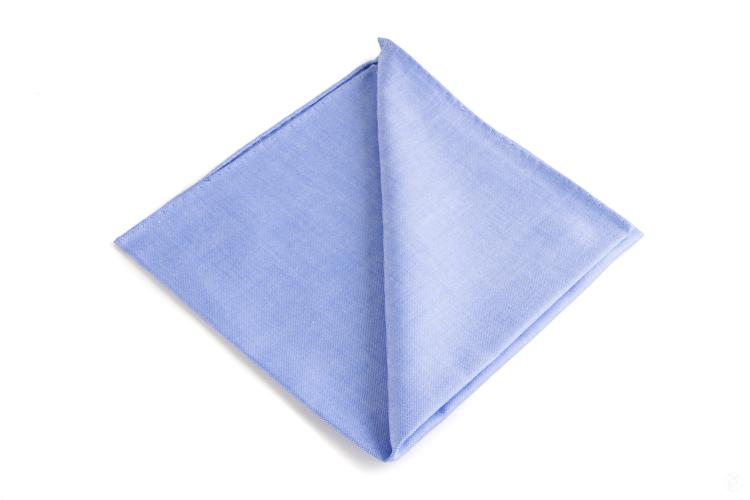 Solid Cotton Pocket Square - Mid Light Blue