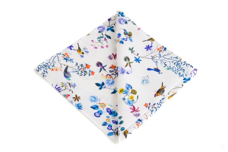 Floral Cotton Pocket Square - White/Light Blue/Purple/Yellow