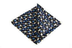 Marten Goose Vintage Silk Pocket Square - Navy Blue/White/Light Blue/Yellow/Green