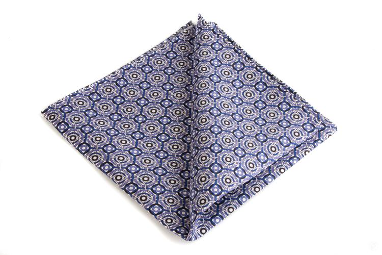 Silk Circular - White/Navy Blue/Light Blue