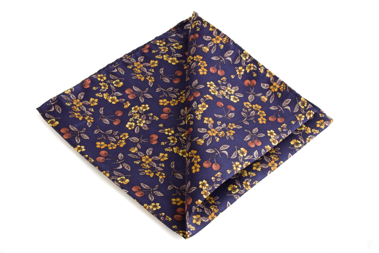 Floral Vintage Silk Pocketsquare - Navy Blue/Beige/Yellow