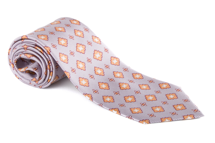 Medallion Vintage Silk Tie - Silver/Beige/Yellow