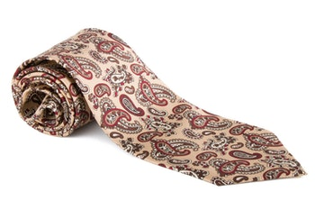 Paisley Vintage Silk Tie - Beige/Brown/Red