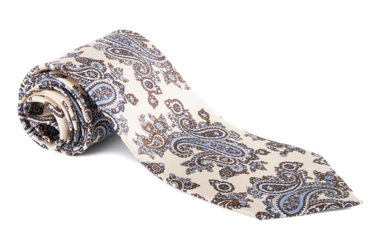 Paisley Vintage Silk Tie - White/Brown/Blue