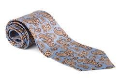 Paisley Vintage Silk Tie - Light Blue/Red/Beige