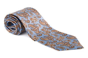 Paisley Vintage Silk Tie - Light Blue/Red/Beige